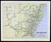 1868 Virtue And Co Antique Map New South Wales, Australia