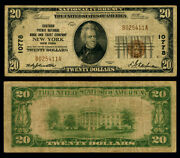 New York Ny 20 1929 T-1 National Bank Note Ch 10778 Chatham Phenix Nb And Tc F