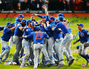 2016 Cubs Team Signed World Series Pile Up 16x20 Photo Bryant + 25 - Fanatics