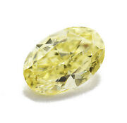 0.54 Carat Fancy Intense Yellow Diamond Certified Natural Color Loose Oval Shape