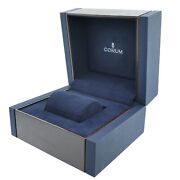 Corum Large Size Wooden Watch Box With Blue Suede Interior And Outer Box