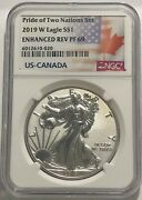 2019 W 1 Enhanced Reverse Proof Ngc Pf69 Silver Eagle Pride Of Two Nations