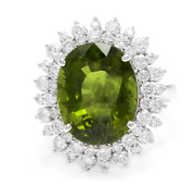 11.30 Carats Natural Green Tourmaline And Diamond 14k Solid White Gold Ring