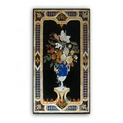 5and039x3and039 Black Marble Dining Table Top Floral Mosaic Inlay Living Home Decor B385