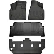 Set-h2118091 Husky Liners Floor Mats Front New Black For Town And Country Dodge
