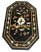 25and039and039x50and039and039 Black Marble Side Top Dining Table Floral Marquetry Inlay Decor B126