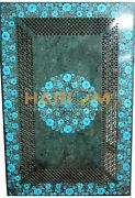 26and039and039x52and039and039 Floral Marble Sofa Dining Top Table Turquoise Inlay Jali Work Art B194