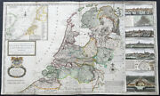 1720 Herman Moll Large Antique Map Of The Netherlands - 7 X Town Plans Amsterdam