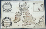 1692 Alexis Jaillot Large Antique Map Of Great Britain And Ireland