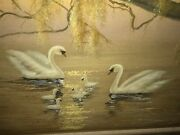 Signed F. Corbeau Original Oil Painting Swans And Babies Willow Tree Lake Wildlife