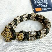 Paracord Bracelet Viking With A Clasp Thorand039s Hammer And Brass Beads Runes.