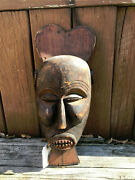 Beautiful Antique African Hand Carved Mask - Ivory Coast Africa Safari Decorw/a