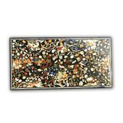 4and039x2and039 Semi Precious Work Floral Fine Home Marble Top Corner Table Inlay Art B389