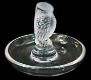 Vintage Signed Lalique France Bird Of Prey Frosted Art Glass Ring Tray - Mint