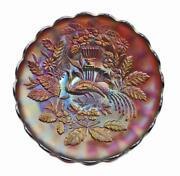 Rare Purple Antique Northwood Peacock And Urn 10 Carnival Art Glass Plate