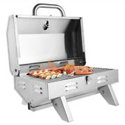 Outdoor Tabletop Stainless Steel Propane Gas Grill Portable Two-burner Bbq Legs