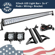 For 07-18 Jeep Wrangler Jk 52inch Led Light Bar Combo+ 2x 4and039and039inch Pods+ Bracket