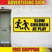Slow Banner Advertising Vinyl Sign Flag Children At Play Road Traffic Safety Now