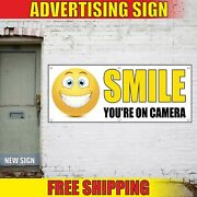 Smile Youand039re On Camera Banner Advertising Vinyl Sign Flag Fun Event Shop Store