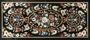 26and039and039x52and039and039 Black Marble Dining Table Top Floral Marquetry Garden Inlay Decor B294