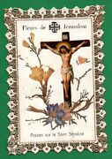 Real Flowers From Jerusalem Placed On Holy Sepulchre Old Golden Lace Holy Card