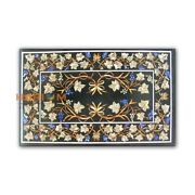 4and039x3and039 Black Marble Dining Table Grapes Mosaic With Floral Inlay Patio Decor B414