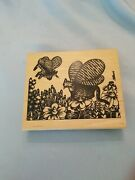 Rare Lg B. Kliban Butterfly Cats Rubber Stamp - American Art Stamp - Tabby Wings
