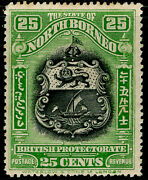 North Borneo Sg178 25c Black And Yellow-grn Nh Mint. Cat Andpound27.