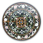42and039and039 Round Marble Dining Table Hallway Top Floral Mosaic Inlay Black Decor B421