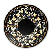 30and039and039 Floral Marquetry Round Marble Corner Top Table Inlay Collectible Decor B430