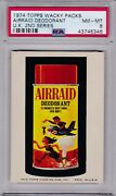 1974 Topps Wacky Packages Uk 2nd Series Airraid Deodorant Psa 8 Nm/mt - Rare 1/1