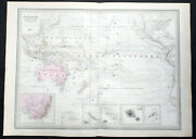 1857 A H Dufour Large Rare Antique Map Of Australia, New Zealand And South Pacific