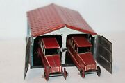 Vintage 1920and039s Tin Penny Toy Garage With Two Limousine Cars Made In Germany