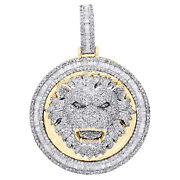 10k Yellow Gold Round And Baguette Diamond Lion Frame Pendant 1.80 Charm 2.55 Ct.