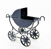 Dolls House Navy And White Baby Pram 112 Scale Old Fashioned Nursery Furniture