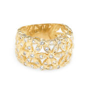 Diamond Flower Wide Band Cigar Ring Vintage 18k Yellow Gold Fine Jewelry 7.5
