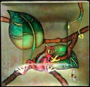 Luis Sottil Gorgeous Red Frog Hand Signed Hr1102 Naturalismo On Canvas