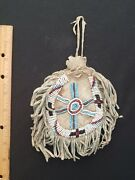 Antique Apache Indian Beaded Pouch With Fringe Circ 1890