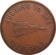 1857 1/2 Penny Edward Island Canada Canadian Fisheries Plough Coin Token