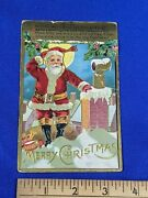 1900s A Merry Christmas Relief Pc Early Santa On The Roof Antique Vtg Chimneys