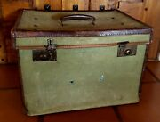 Antique Old W.f. Cody Personal Canvas Small Trunk Travel Suite Case Buffalo Bill