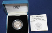 1986 United Kingdom One Pound Silver Proof Royal Mint £1 Coin And Case E4017