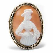 Antique Shell Cameo Um 1870 Woman From Naples 14k Gold And Diamonds Brooch Gem