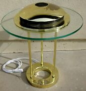 O'o'o . Desk Table Lamp 1 . Dimmable Halogen Light Glass And Brass . Hard To Find