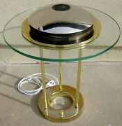 O'o'o . Desk Table Lamp 2 . Dimmable Halogen Light Glass And Brass . Hard To Find