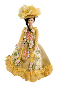 Dolls House Victorian Lady In Gold Gown Miniature 112 Scale People Porcelain