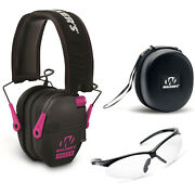 Walker's Razor Slim Electronic Muff Black/ Pink With Case And Shooting Glasses