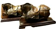 2-antique Art Bronze Chinese Zodiac Fengshui Luck Animal Tang Horse Statues Base