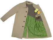 New Etro Overocat Large Tan Heavier Weight Cotton Green Quilted Lining Italy
