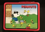 Vintage Snoopy Lunch Box Tin Container Peanuts Woodstock Charlie Brown